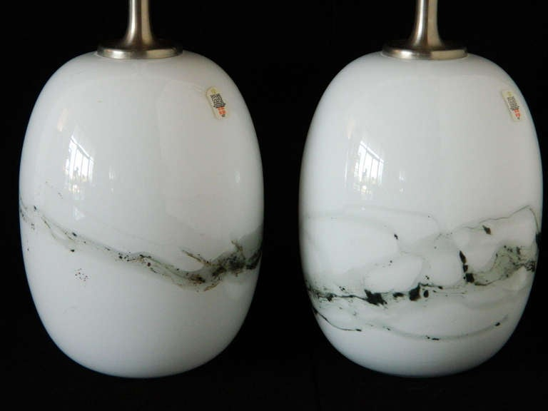 Pair of Michael Bang Glass Lamps for Holmegaard In Excellent Condition For Sale In Baltimore, MD