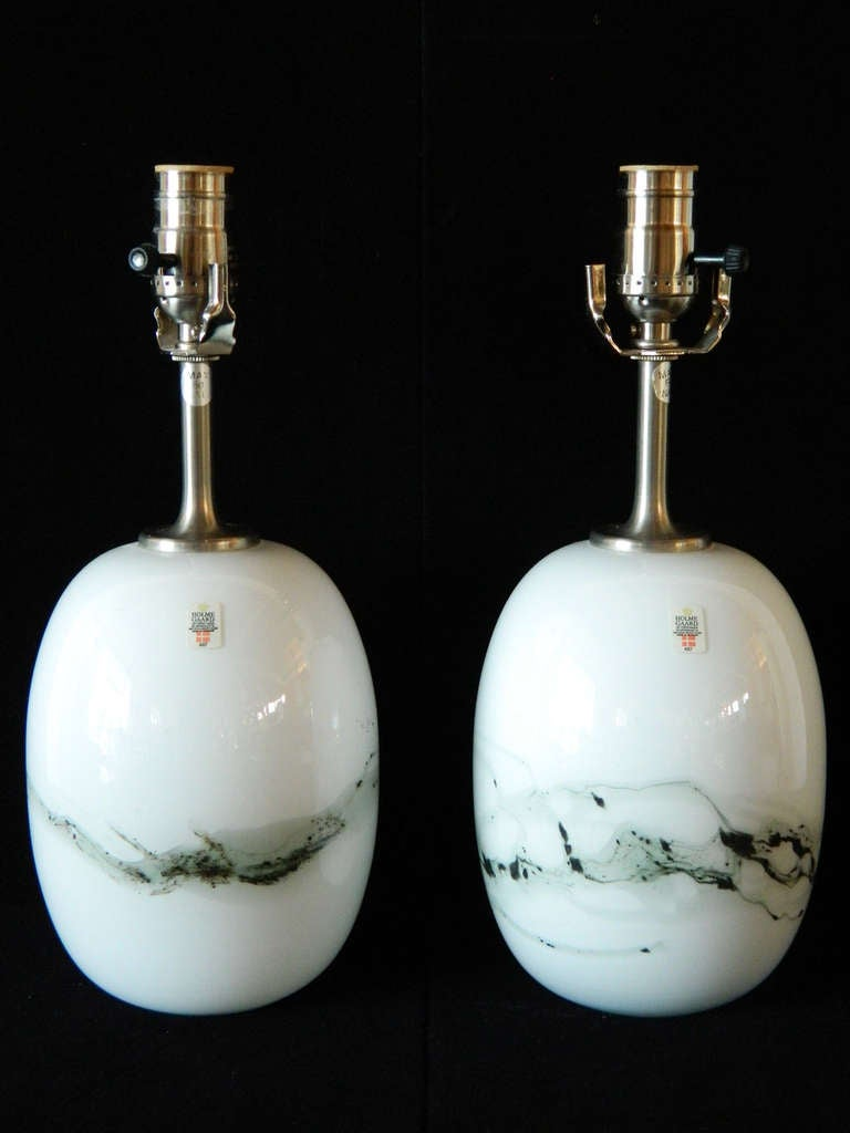 Danish Pair of Michael Bang Glass Lamps for Holmegaard For Sale
