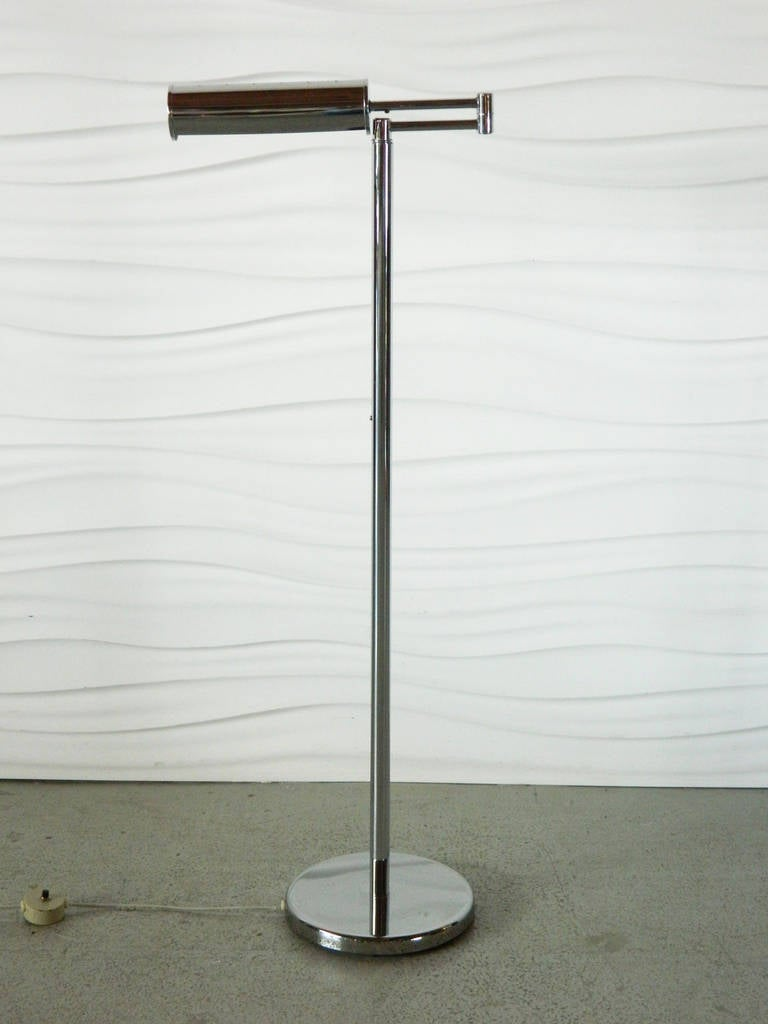 walter von nessen chrome swing arm floor lamp for sale at stdibs - walter von nessen chrome swing arm floor lamp