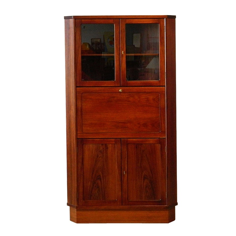 Danish Rosewood Corner Cabinet With Drop Front Desk At 1stdibs