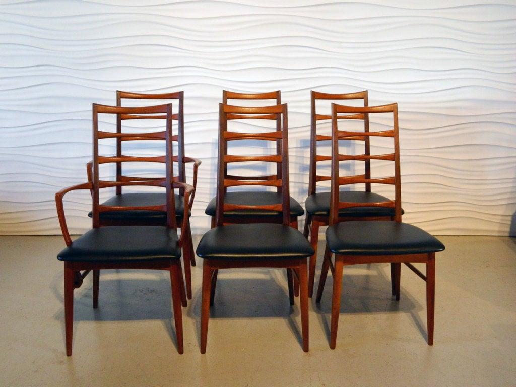 Six Koefoeds Hornslet Danish Teak Ladderback Dining Chairs at 1stdibs