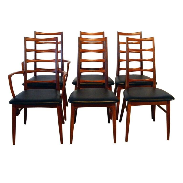 Six Koefoeds Hornslet Danish Teak Ladderback Dining Chairs