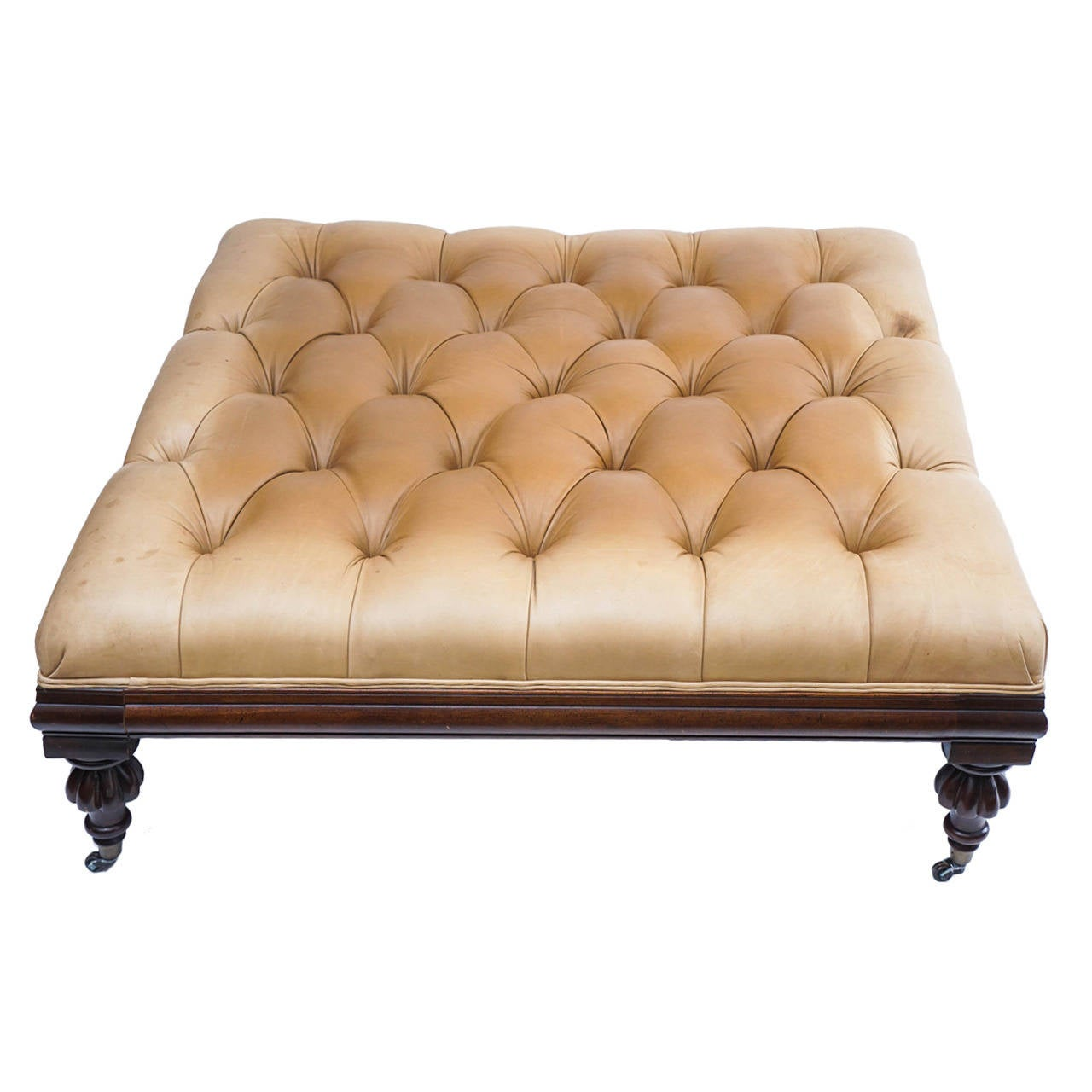 Large Henredon Leather Ottoman Or Coffee Table With Traditional Casters At 1stdibs