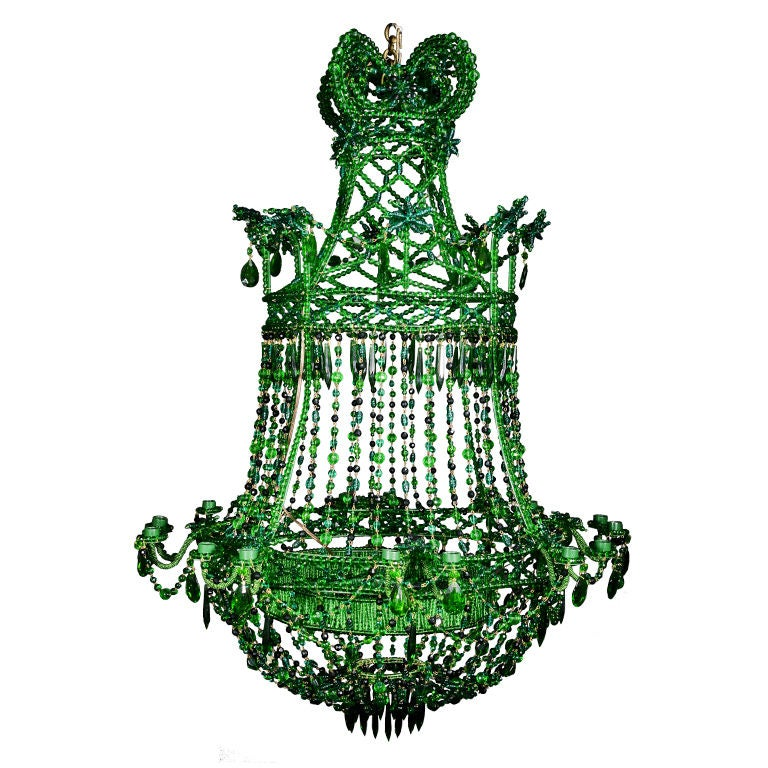 French Louis XVI style Green crystal chandelier at 1stdibs