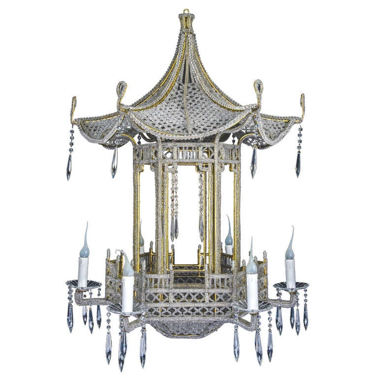 A unique italian gilt bronze beaded and cut crystal chinoiserie style chandelier at 1stdibs - Unique crystal chandeliers ...