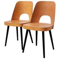 Pair of Thonet Barrel Back Beach Dining Chairs
