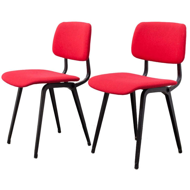 Pair of red upholstered friso kramer revolt chairs at 1stdibs for Red and white upholstered chairs