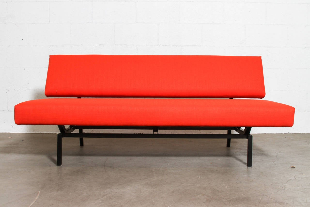 Minimal Coen de Vries Style Flame Red Sofa For Sale at 1stdibs