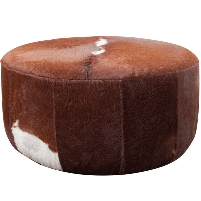 Large Vintage Inspired Cowhide Ottoman Or Coffee Table At 1stdibs