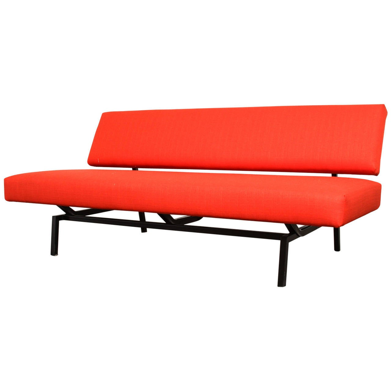 Minimal Coen De Vries Style Flame Red Sofa For Sale