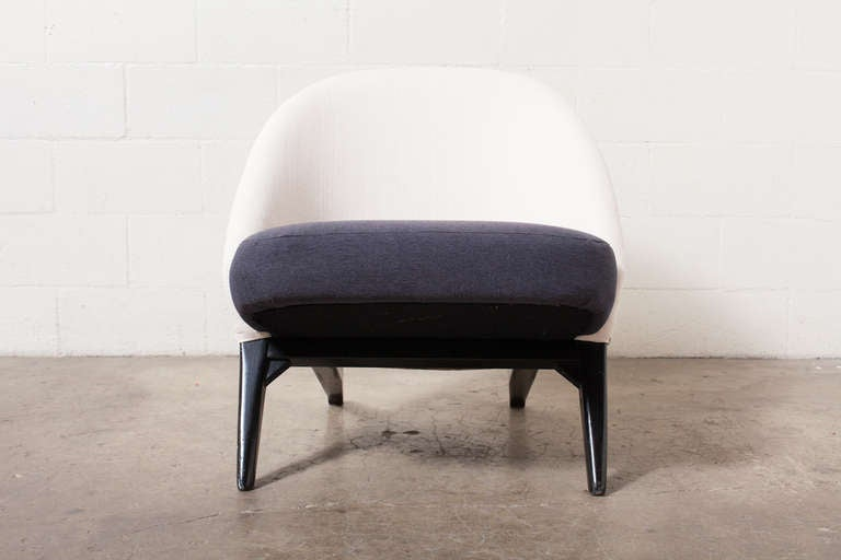 Theo Ruth Ebonized Birch Frame With Newly Reupholstered Navy Seat Cushion  And Textured White Seat Back