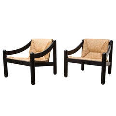 """Pair of Vico Magistretti for Cassina """"Carimate"""" Lounge Chairs"""
