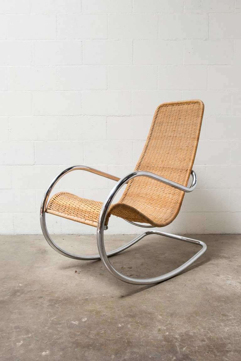 Rattan And Chrome Italian Rocking Chair At 1stdibs