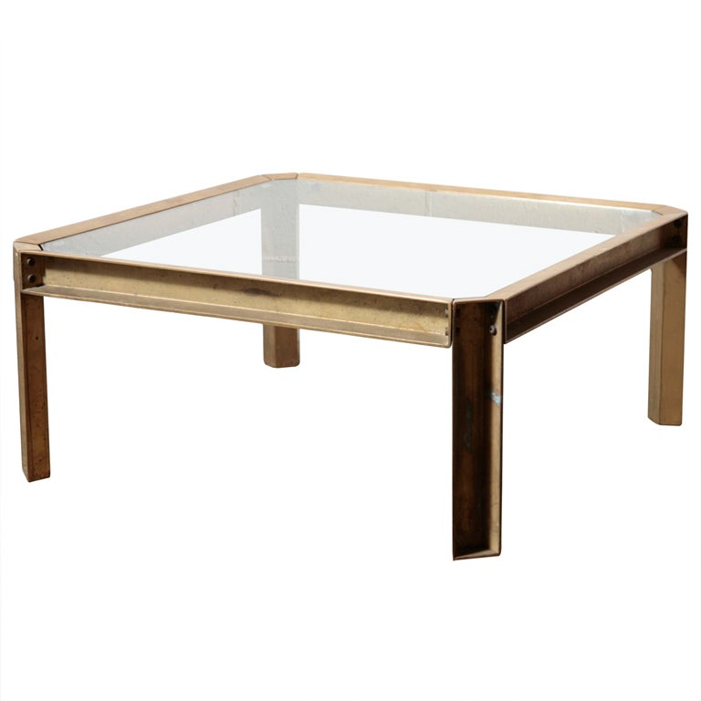Brass And Glass Industrial Style Coffee Table At 1stdibs