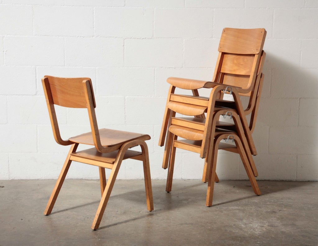 Birch Stacking School Chairs 2