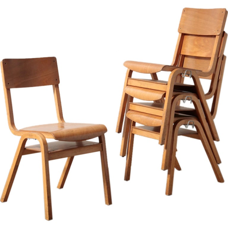 Birch stacking school chairs at 1stdibs for Stackable dining room chairs