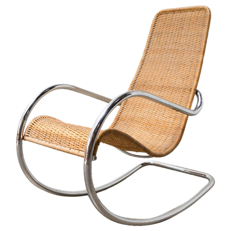 Awesome Rattan And Chrome Italian Rocking Chair At 1Stdibs Gmtry Best Dining Table And Chair Ideas Images Gmtryco