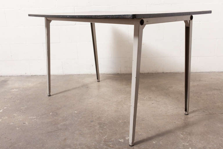 Industrial Enameled Grey Metal Frame with Faux Teak Wood Formica Top. Original Condition. 7 Available.