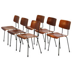Set of Six Gispen Plywood Chairs by A.R. Cordemeijer