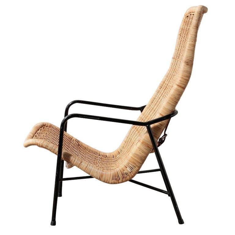 Dirk Van Sliedricht High Back Woven Rattan Lounge Chair At