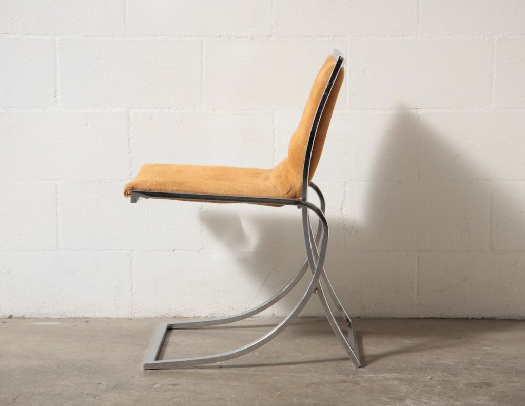 Maison Jansen Attr Chrome And Suede Dining Chairs For