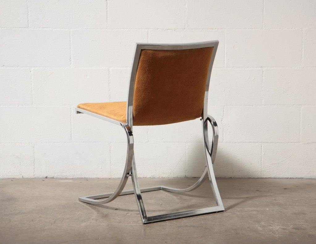 jansen attr chrome and suede dining chairs for sale at 1stdibs