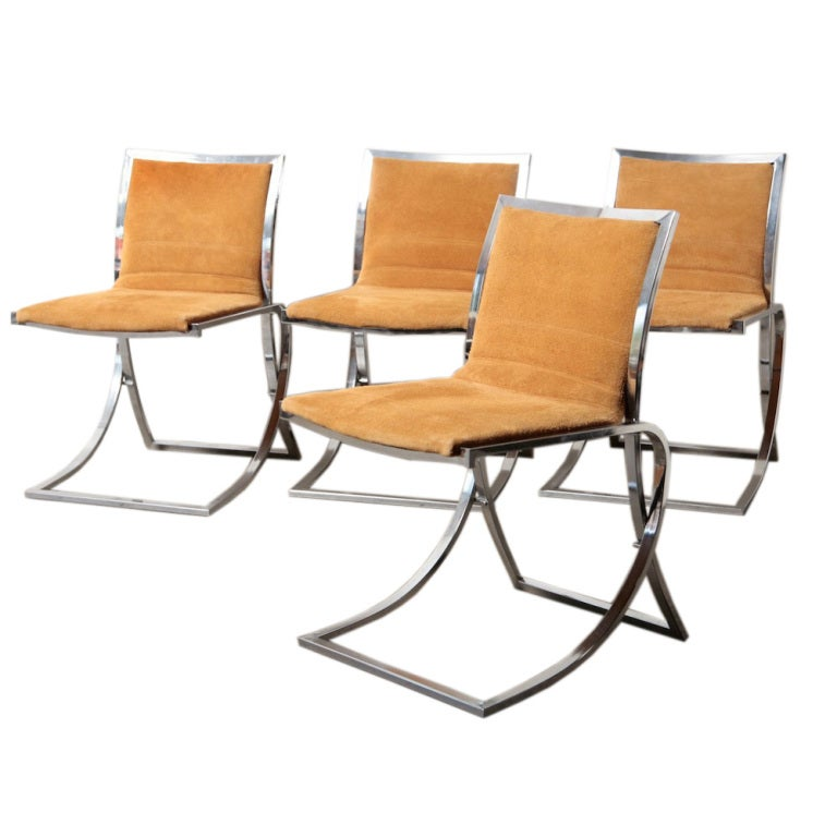 maison jansen attr chrome and suede dining chairs at 1stdibs