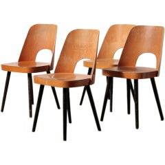 Set of 4 Thonet Barrel Back Beech Dining Chairs