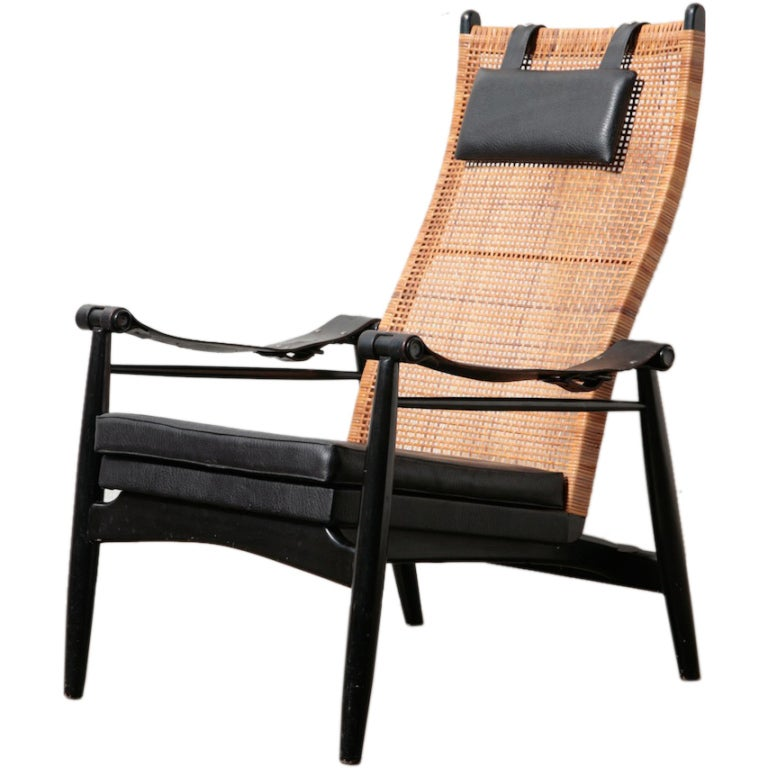 Muttendam Mid Century Rattan And Leather Armed Lounge