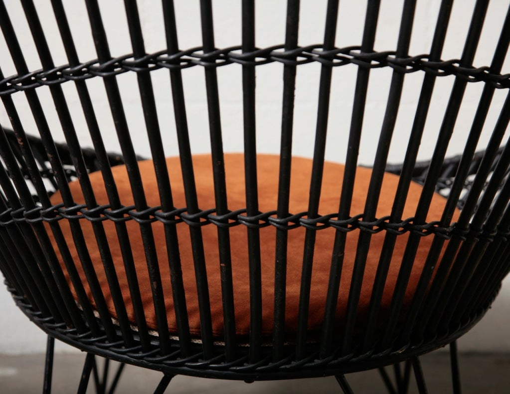 Platner Style Black Bamboo Hoop Chair At 1stdibs