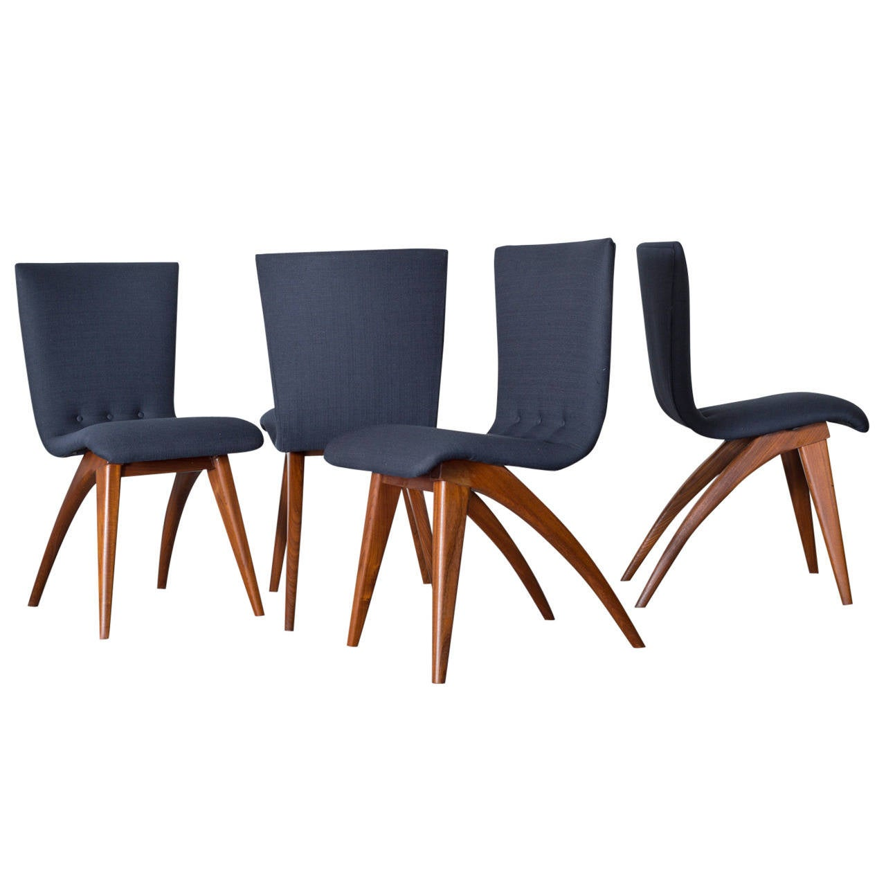 Set of four van os curved teak dining chairs in navy at - Four dining room chairs set ...