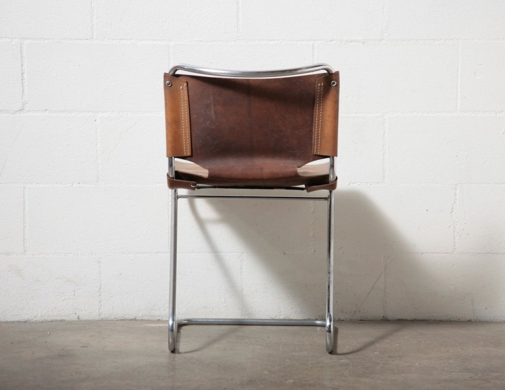 leather and chrome tubular dining chairs at 1stdibs