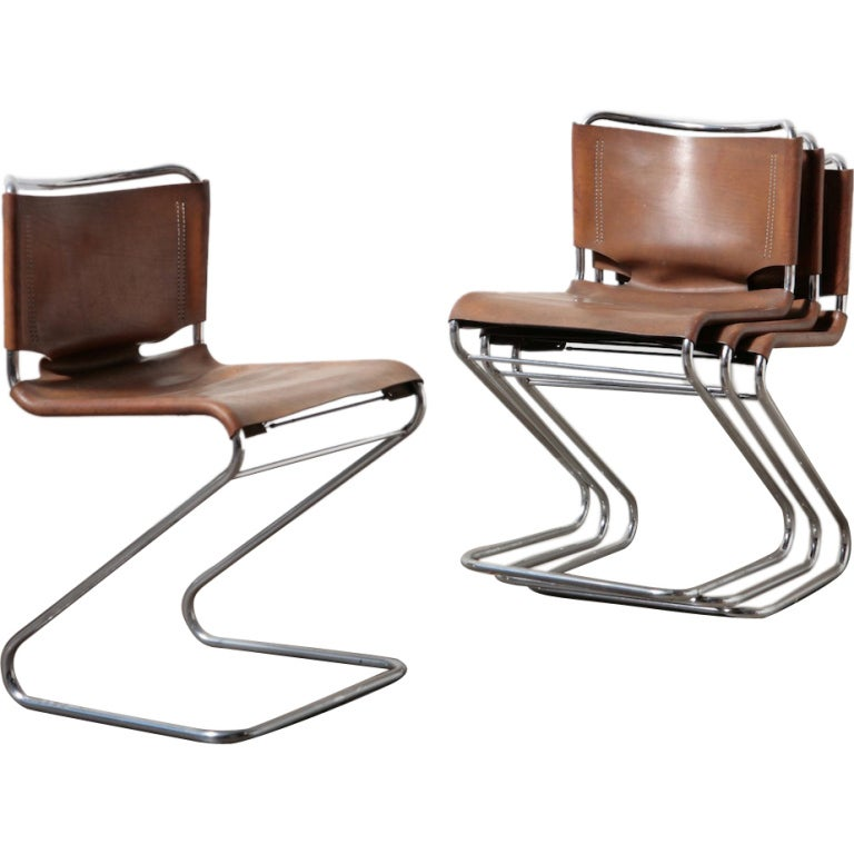 Leather and chrome tubular dining chairs at 1stdibs for Leather and chrome dining chairs