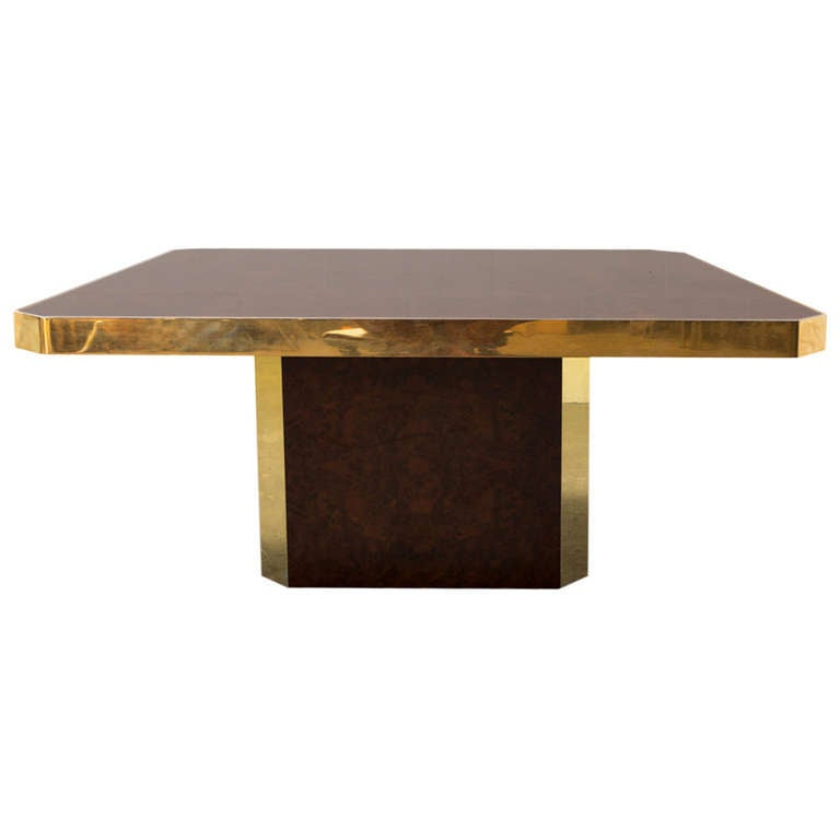 Willy rizzo burled wood and brass coffee table at 1stdibs for Table willy rizzo