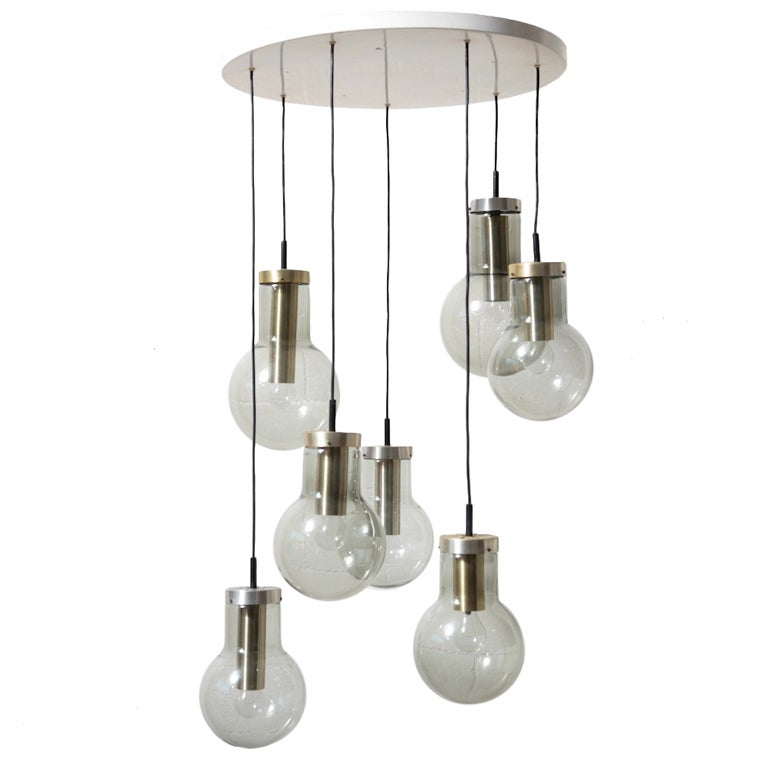 Raak Multi Smoked Glass Chandelier For Sale