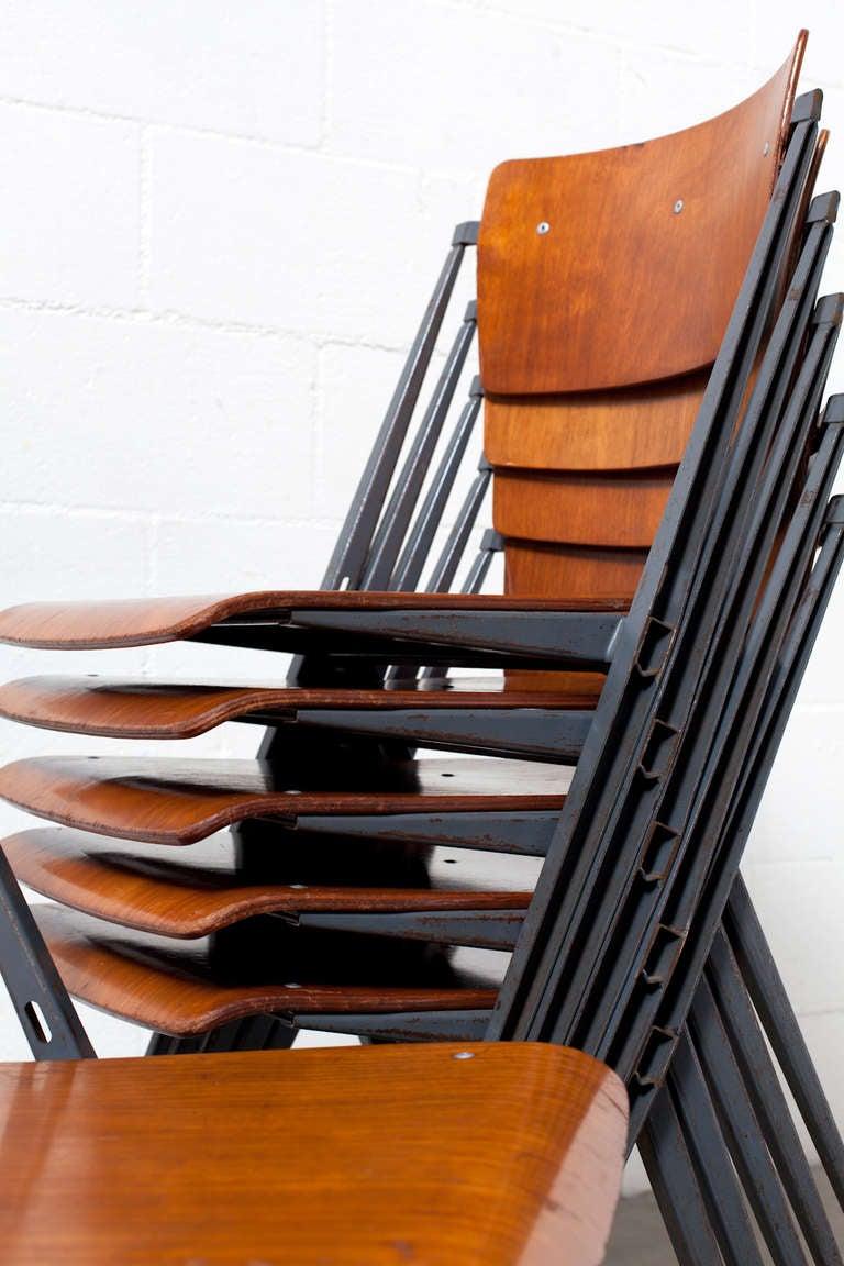 Rare Set Of 6 Wm Rietveld Pyramid Chair At 1stdibs