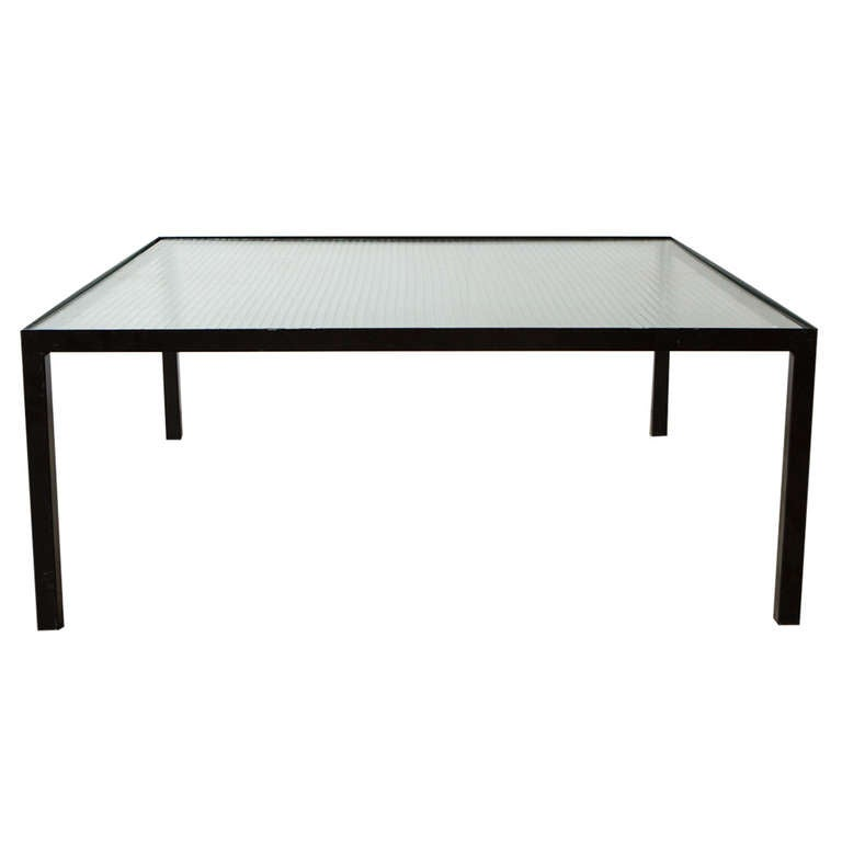 Artimeta attributed square metal and glass coffee table at 1stdibs Metal square coffee table