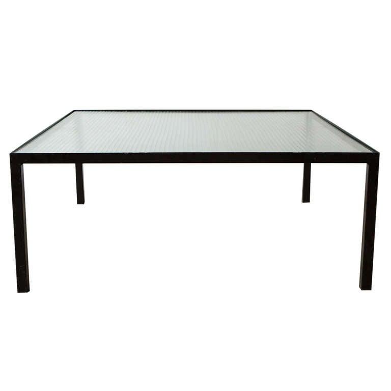 Genius Square Metal And Glass Table: Artimeta Attributed Square Metal And Glass Coffee Table At