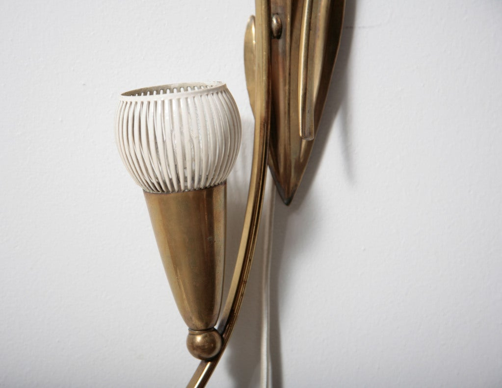 Italian Style Brass Floral Wall Sconce at 1stdibs
