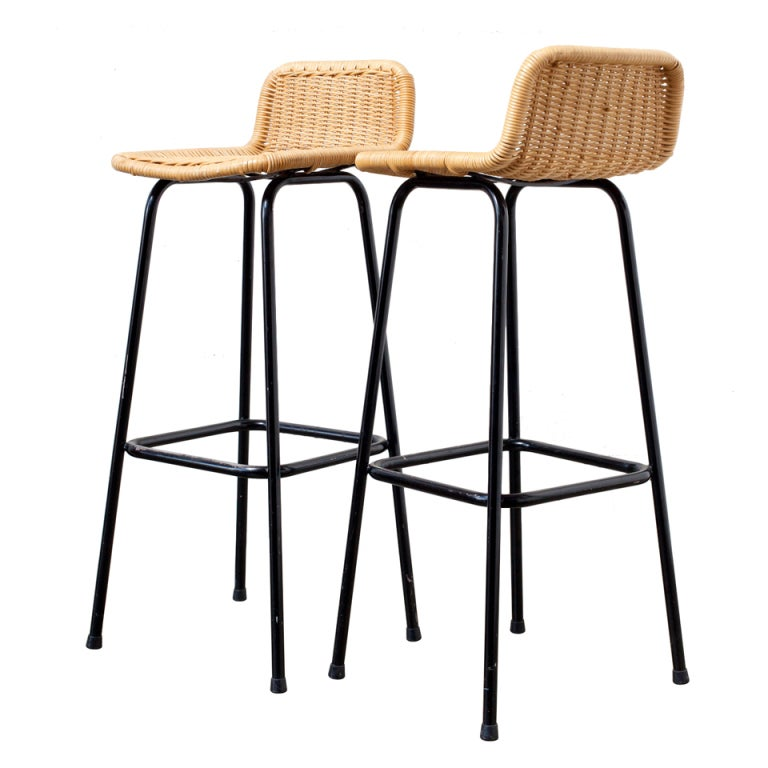 Pair Of Charlotte Perriand Style Wicker Bar Stools At 1stdibs