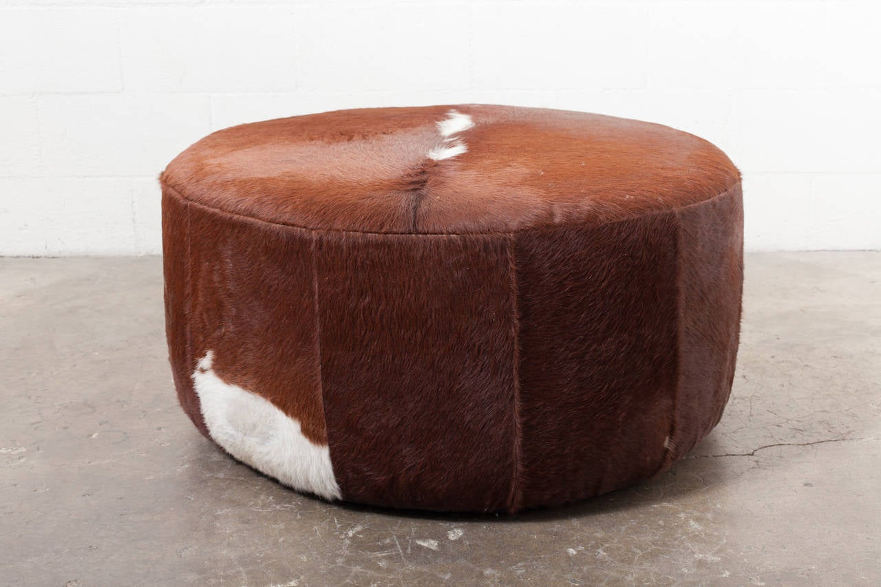 three foot wide vintage inspired cowhide ottoman or coffee table 2