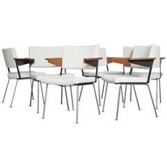 Set of Six Gispen Arm Chairs No.11 by A.R. Cordemeijer