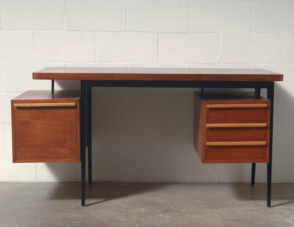 Friso Kramer Style Teak and Metal Desk at 1stdibs