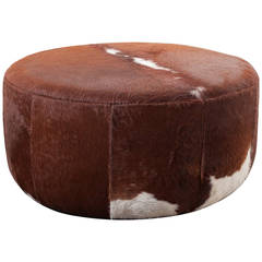 Three Foot Wide Vintage Inspired Cowhide Ottoman or Coffee Table