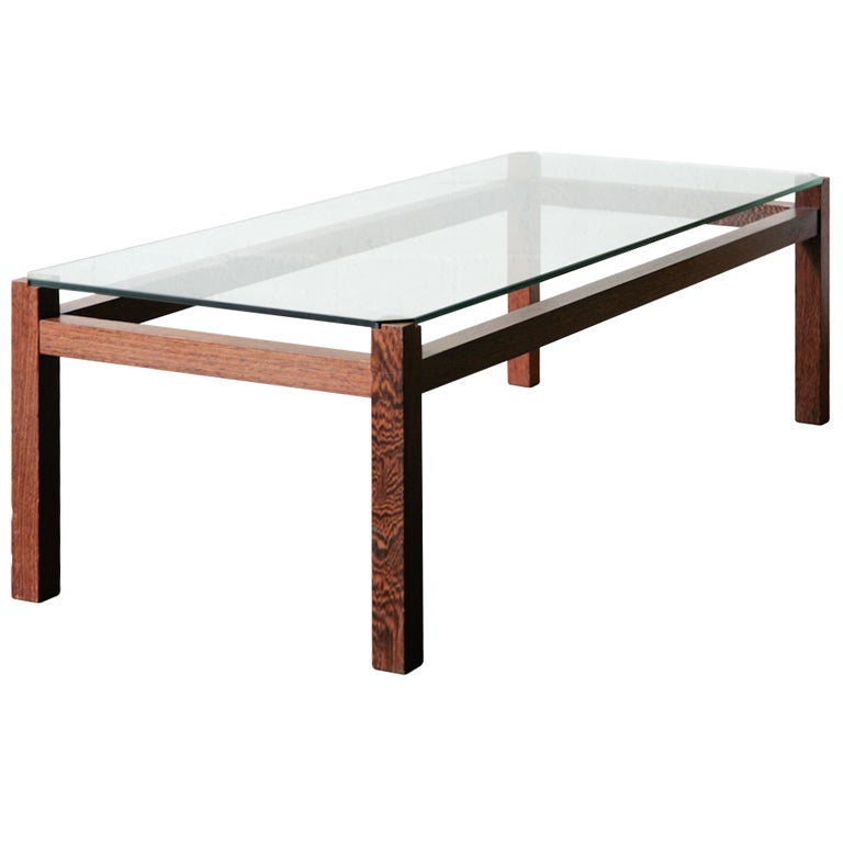 Kho Liang Le Wenge And Glass Coffee Table At 1stdibs