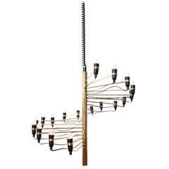 Gino Sarfatti Radiating Brass Chandelier
