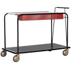 Mathieu Mategot Style Bar Cart with Removable Trays