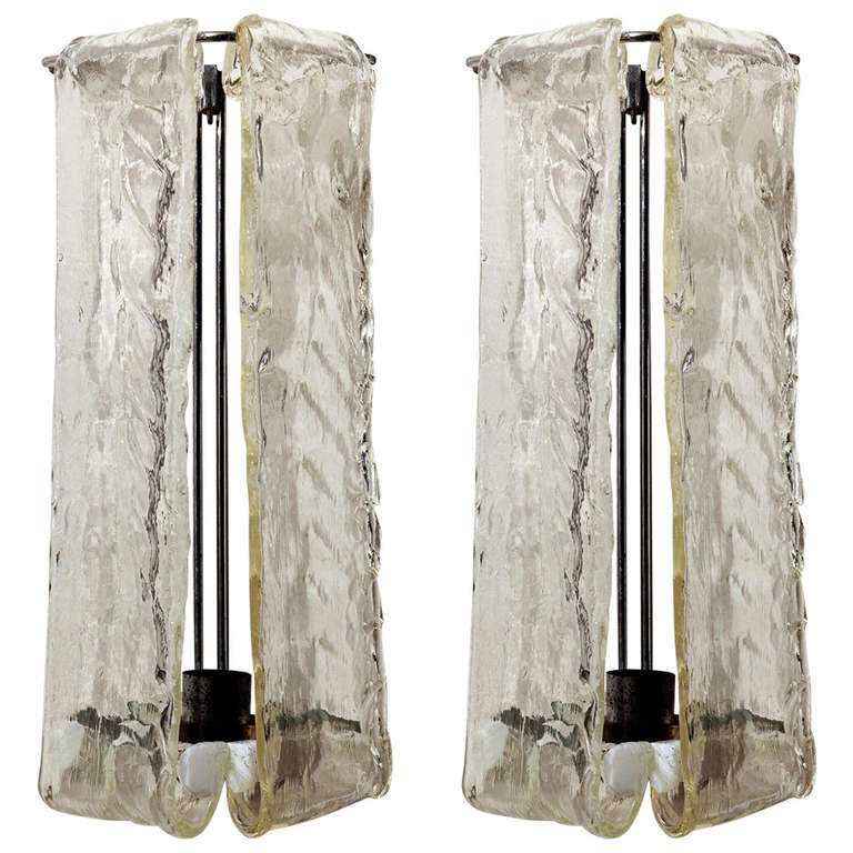 Slumped Glass Wall Sconces : Pair of Barovier and Toso Slumped Glass Wall Sconces at 1stdibs