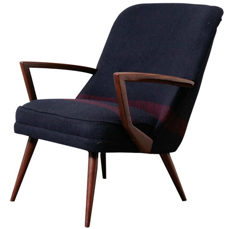 Danish Modern Lounge Chair with Organic Teak Arms at 1stdibs