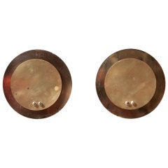 Pair of French Brass Round Wall Sconces